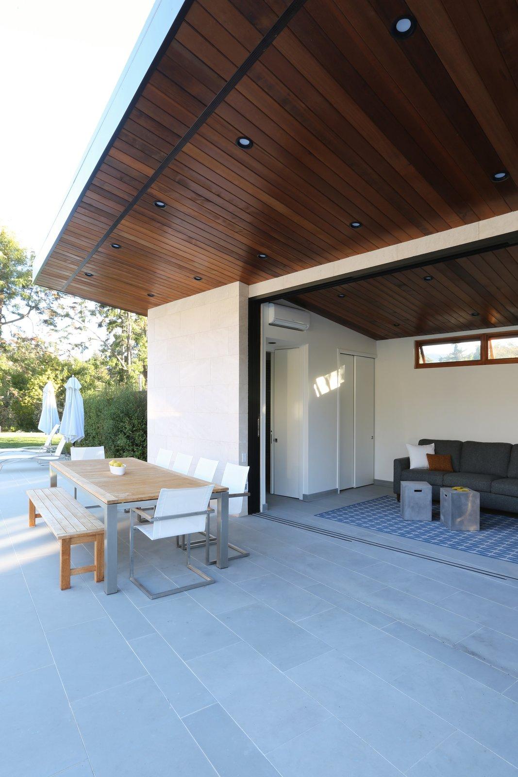 Cantilevered Roof Dining  Los Altos Hills Landscape by Greenblott Design