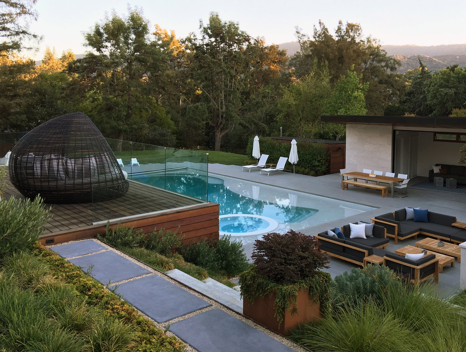 Terraced Decks to Pool & Pool House  Photo 8 of 12 in Take a Plunge Into These Enticing Modern Pools from Los Altos Hills Landscape