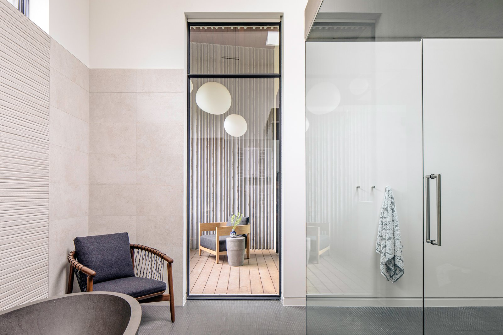Bath Room, Porcelain Tile Wall, Freestanding Tub, and Enclosed Shower Taula House by M Gooden Design  |  Master Bathroom  Taula House by M Gooden Design