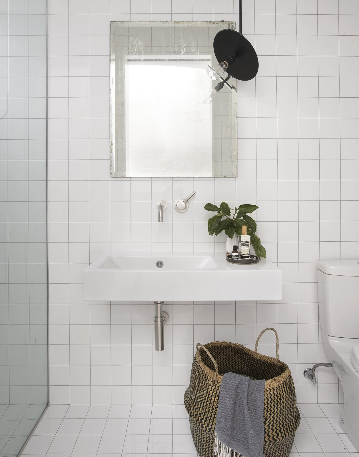 Bath, Ceramic Tile, Wall Mount, Open, Ceramic Tile, One Piece, and Pendant Bathroom  Best Bath One Piece Pendant Photos from Brooklyn Row 1