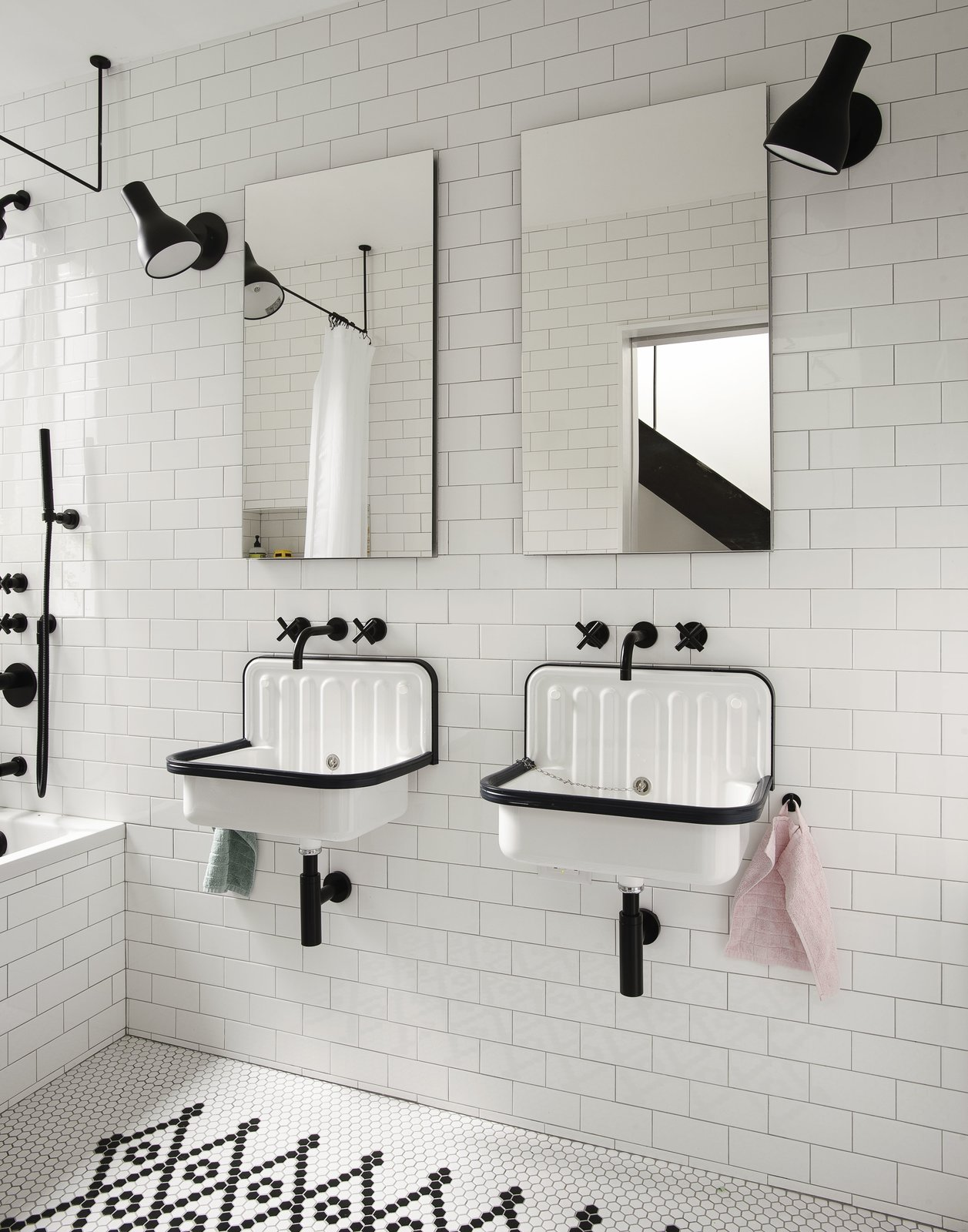 Bath, Ceramic Tile, Wall Mount, Drop In, Ceiling, Ceramic Tile, One Piece, and Wall Kids' Bathroom  Bath Drop In Wall Ceramic Tile Photos from Little House. Big City.