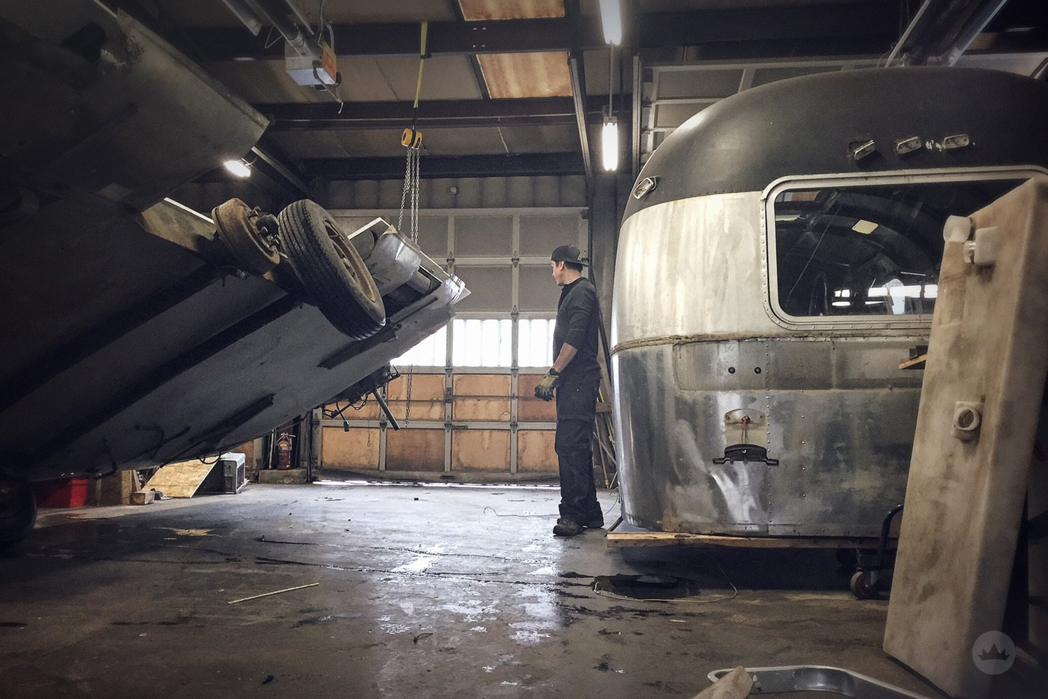 Exterior, Airstream Building Type, Metal Roof Material, Metal Siding Material, and Curved RoofLine Gogo, Before / Just after the shell and frame were separated. When the restoration process truly begins!  Gogo, the 1974 Argosy by ESK Productions & Design