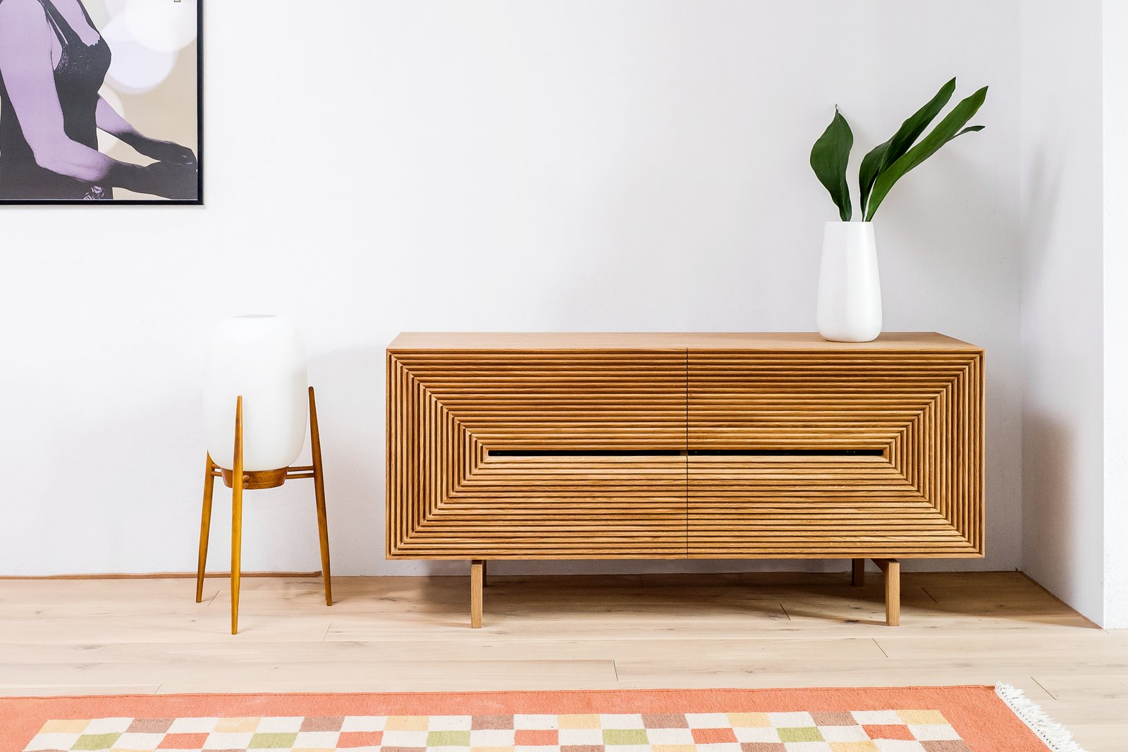 Living Room and Console Tables Sideboard custom designed by Loft Kolasiński  Photo 9 of 12 in A Family's Loft in Poland Gets a Minimalist Renovation That's Both Elegant and Functional