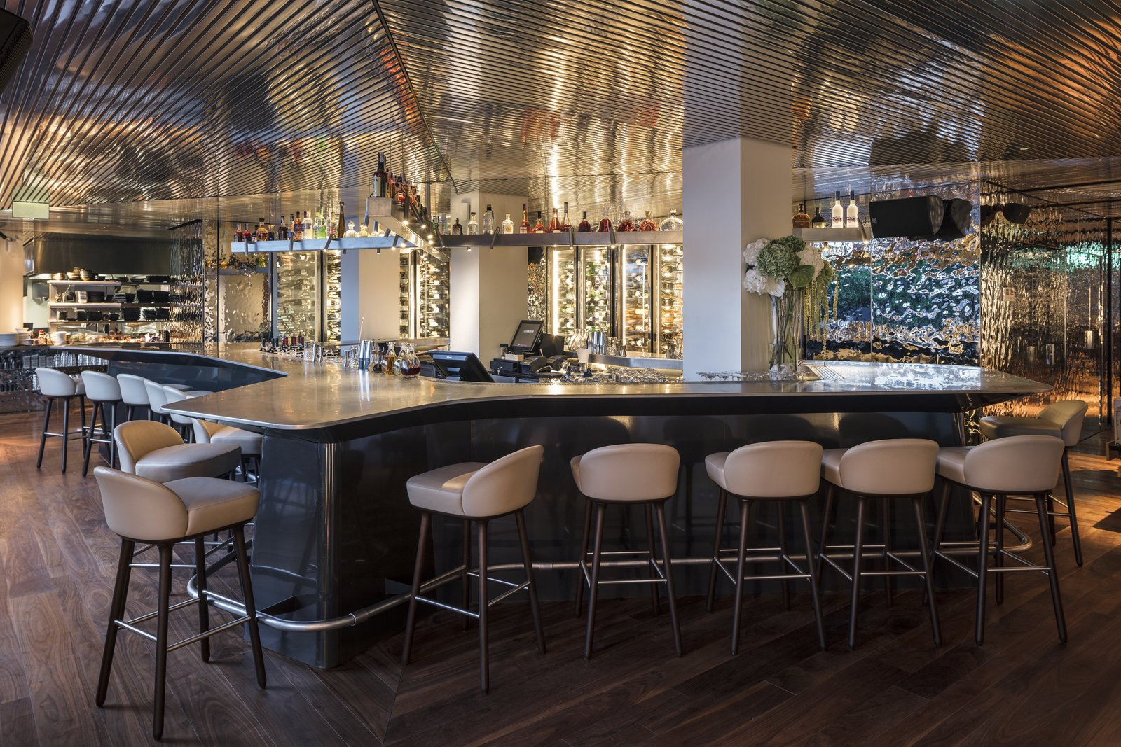 Dining Room, Dark Hardwood Floor, Bar, and Stools Interior of Izakaya at Sir Joan  Photo 9 of 11 in A New Hotel That Celebrates Ibiza's Maritime History and Love For Parties