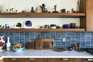 To add natural vibrancy and variable depths of color, ModOp Design used tile selections from Heath Ceramics' Modern Basics line for the kitchen backsplash and all bathroom tiles in this Los Angeles renovation.