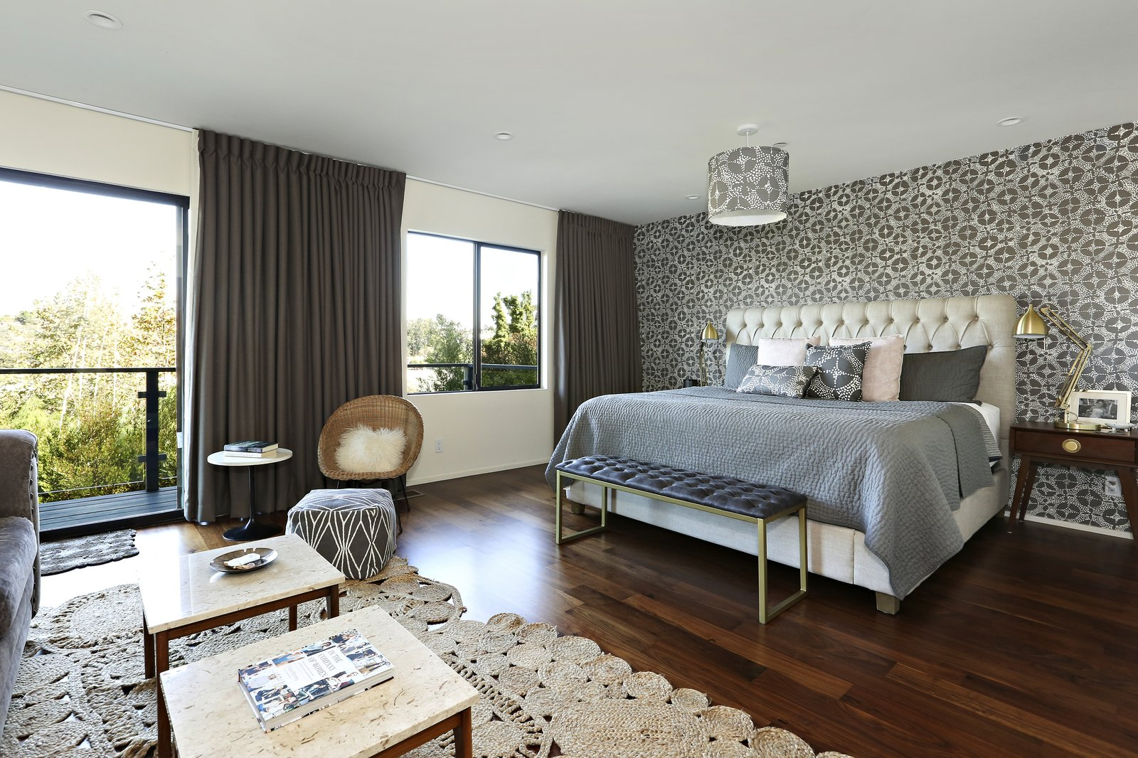 bedroom with ceiling pendant light with mosaic motif shade