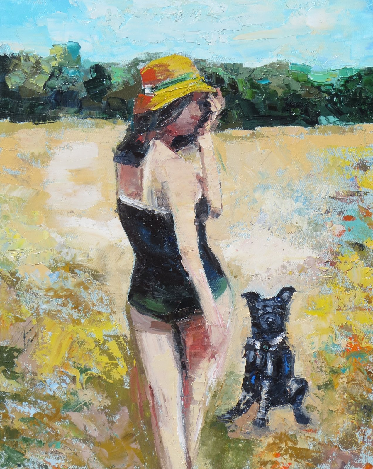 Yellow Hat by Kim Ford Kitz  Figurative Paintings