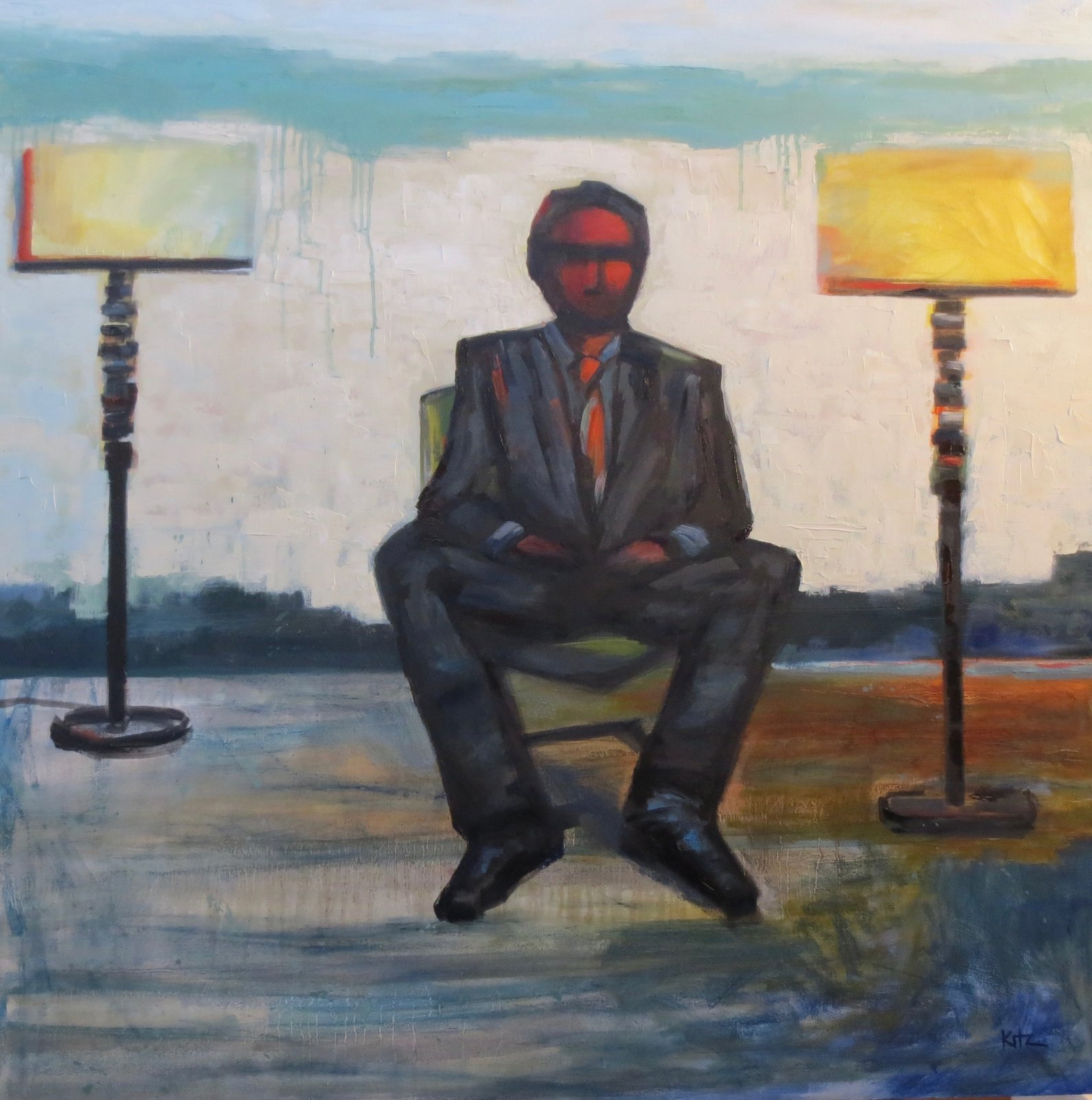 Man Between Luminaries-oil painting by Kim Ford Kitz  Figurative Paintings