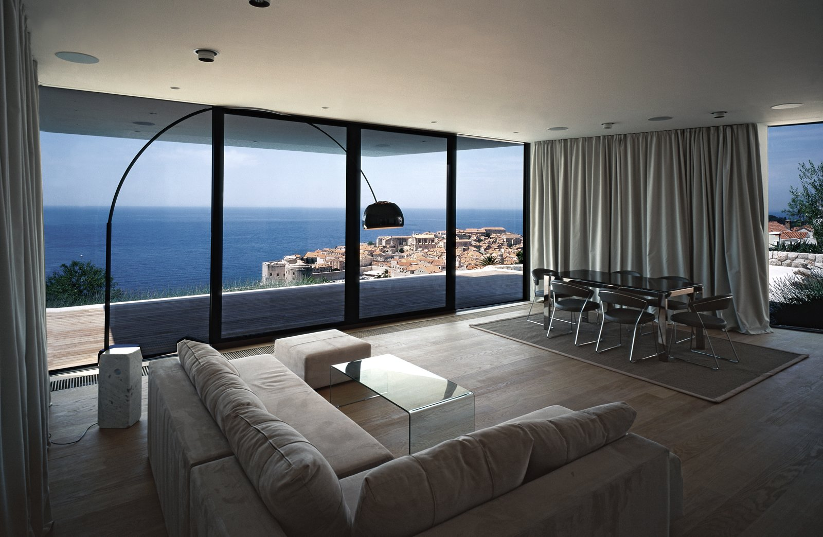 Living room and the view of Dubrovnik from the house  House U by 3LHD