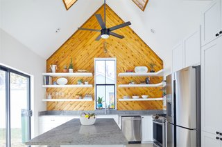 An angled application gives this wood paneling a modern feel.