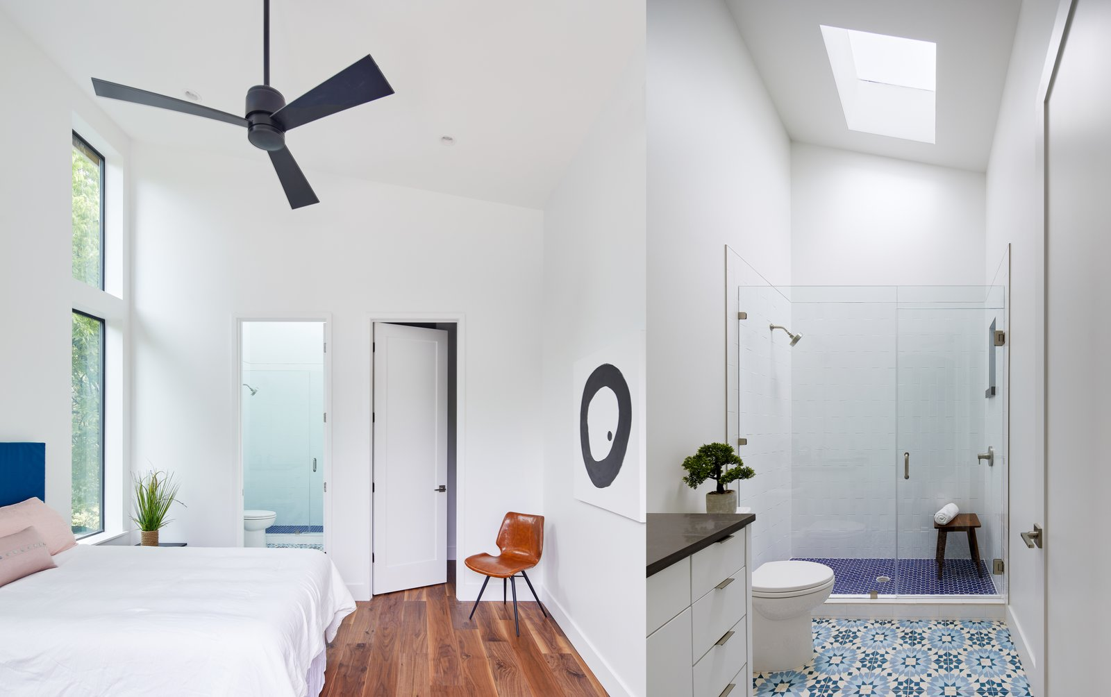 Bedroom, Chair, Ceiling Lighting, Bed, and Medium Hardwood Floor Guest Bedroom and Guest Bath  Chelsea House by Davey McEathron Architecture