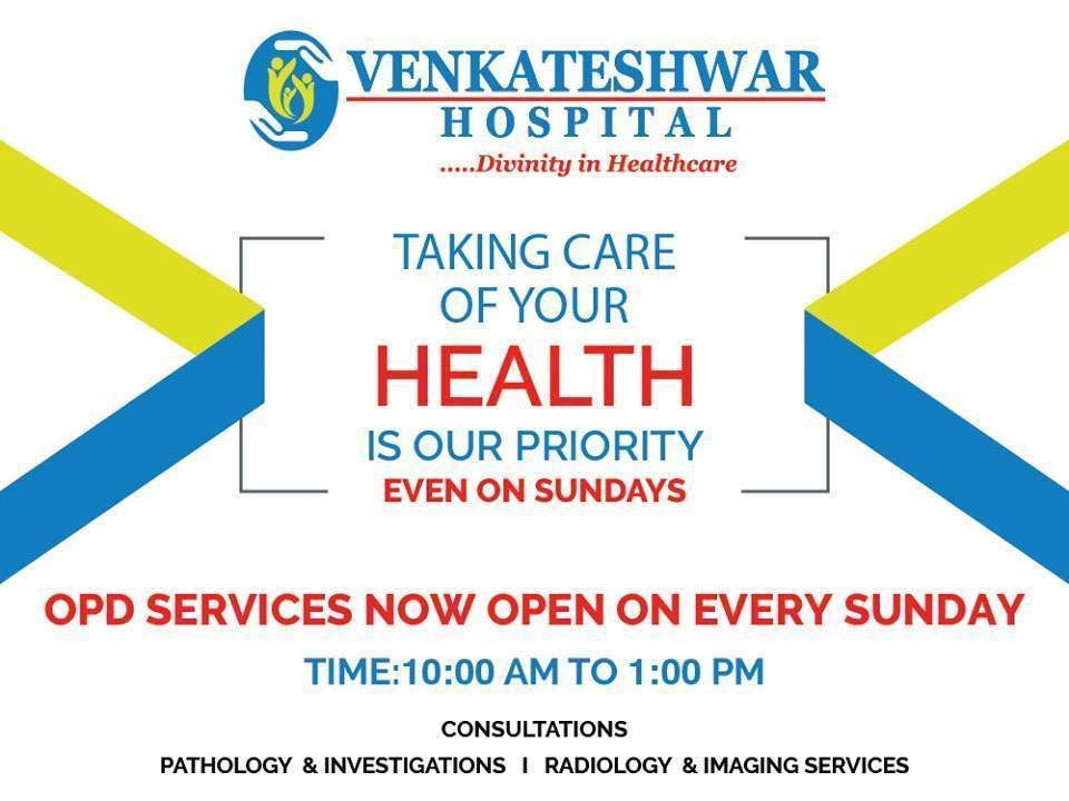Get the best OPD services at the Venkteshwar Hospital in Dwarka, Delhi by the best faculties.   Health Services