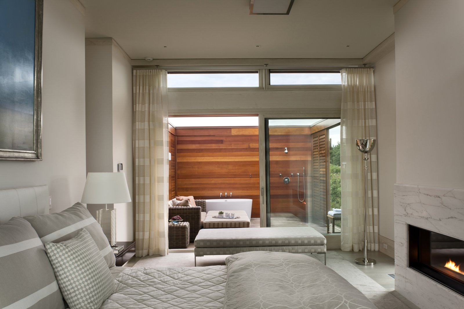 The master suite boasts two bathrooms, one of which is outside.  The Cape