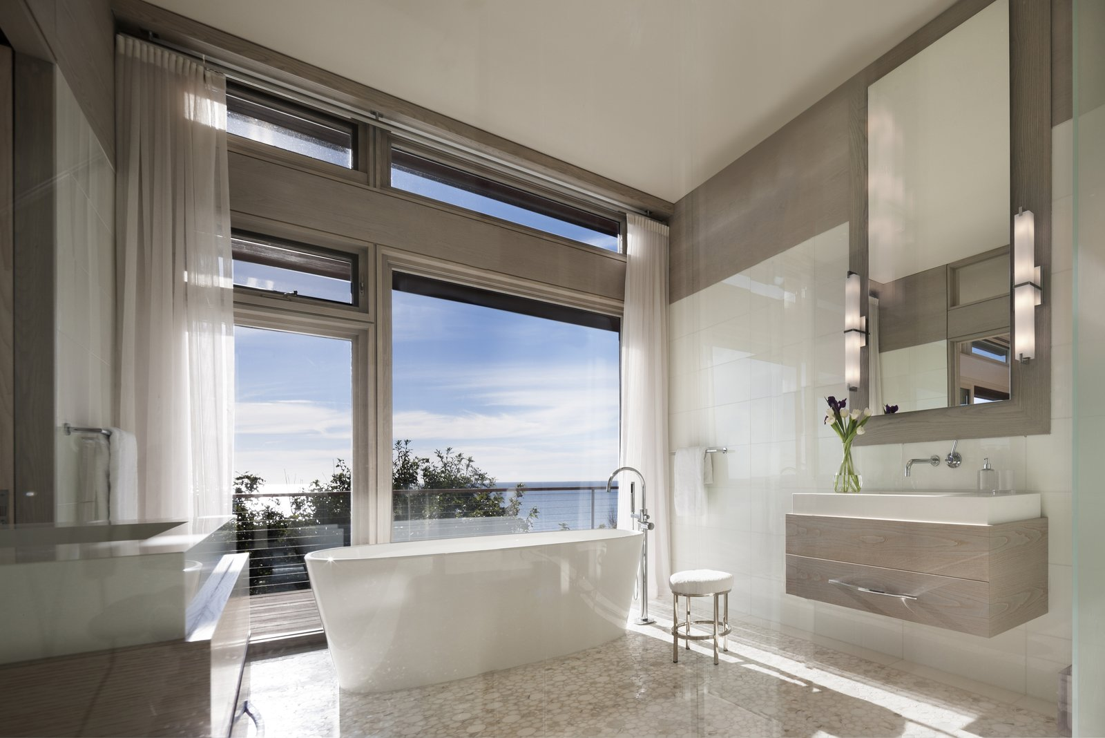 The master bathroom provides a place to escape and unwind.  The Cape