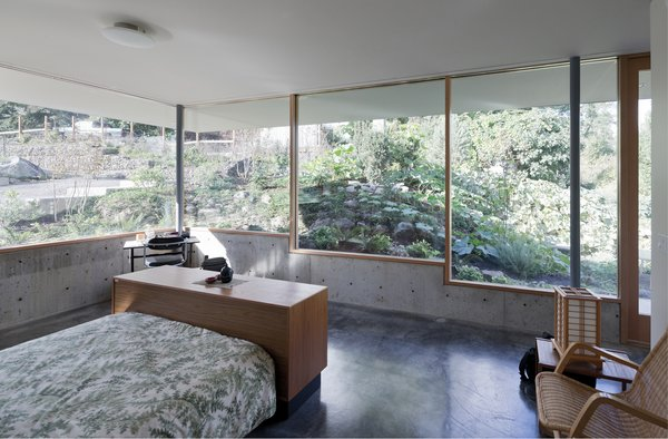 A stepped glass and concrete envelope negotiates transparency and privacy to the neighboring context.   The Courtyard House