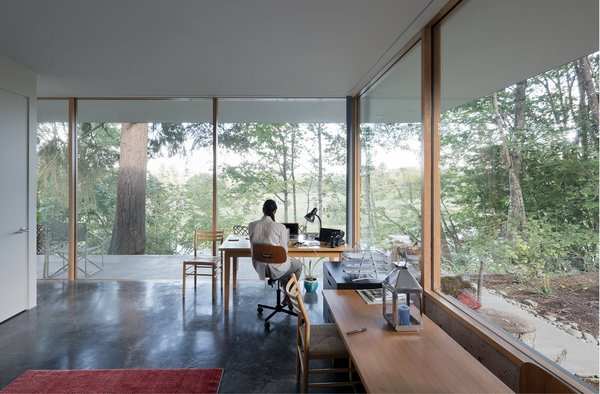 Maximizing usable space while minimizing poché, each storage core contains all of the rituals of daily living—toilets, showers, closets, mechanicals, and kitchen—allowing each room to be equipped communally when open or privately when closed.   The Courtyard House