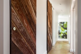 Reclaimed wood barn-doors