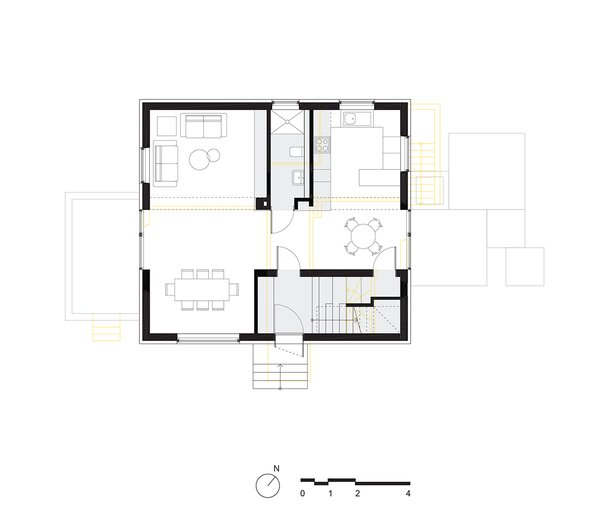 ground floor plan Tagged: Wood Tread, Garden, Decking Patio, Porch, Deck, Wood Patio, Porch, Deck, Wood Fences, Wall, Table, Chair, Pendant Lighting, Cement Tile Floor, Sofa, Bookcase, Accent Lighting, Carpet Floor, and Kitchen.  Haus Mai by Project Architecture Company