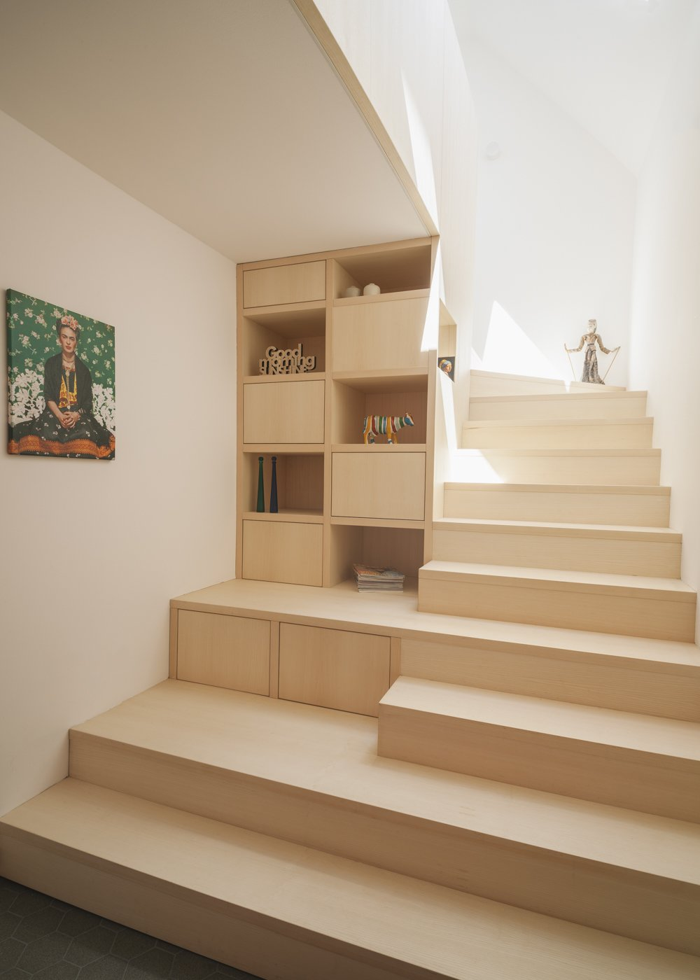"Storage Room and Under Stairs Storage Type new ""stairage"" out of ash wood  Haus Mai by Project Architecture Company"