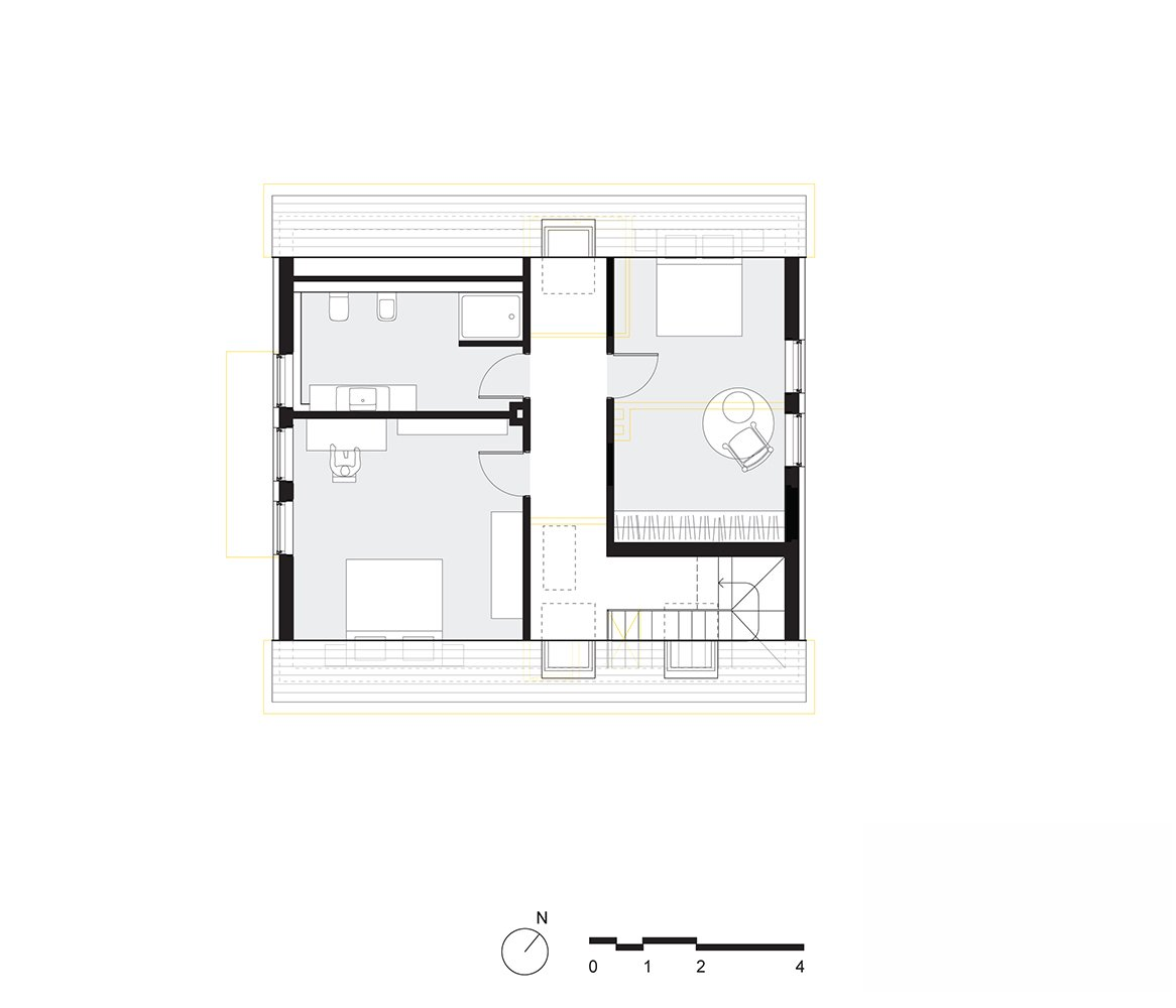 Bedroom upper floor plan  Haus Mai by Project Architecture Company