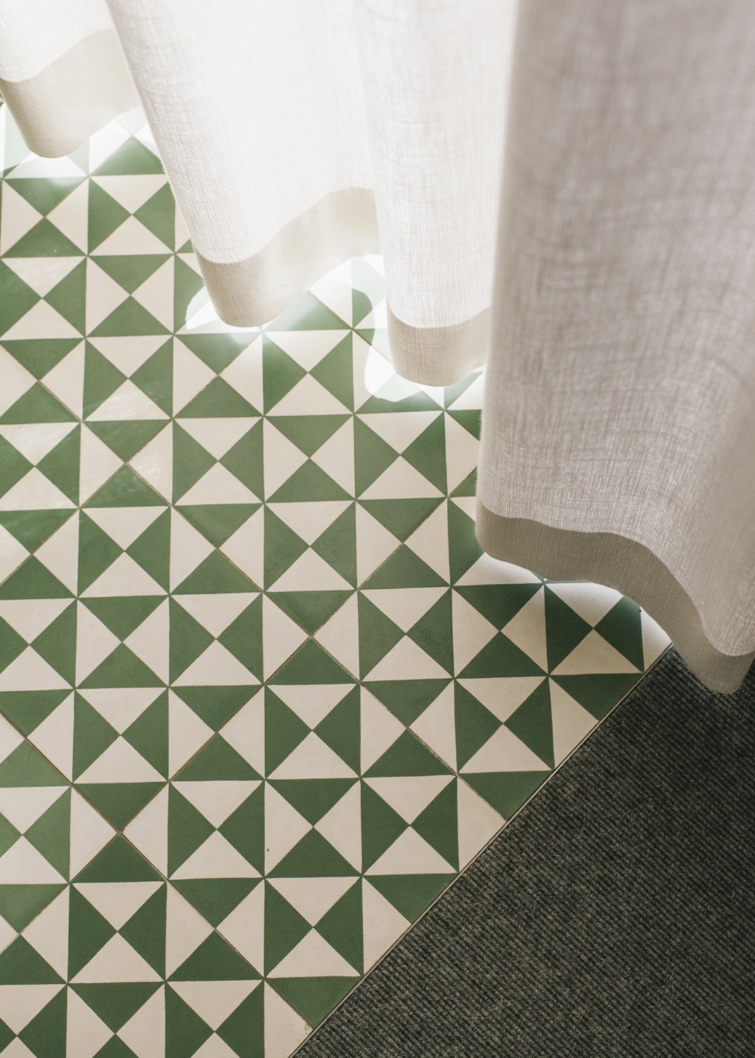Living Room, Carpet Floor, and Cement Tile Floor cement tiles  Haus Mai by Project Architecture Company