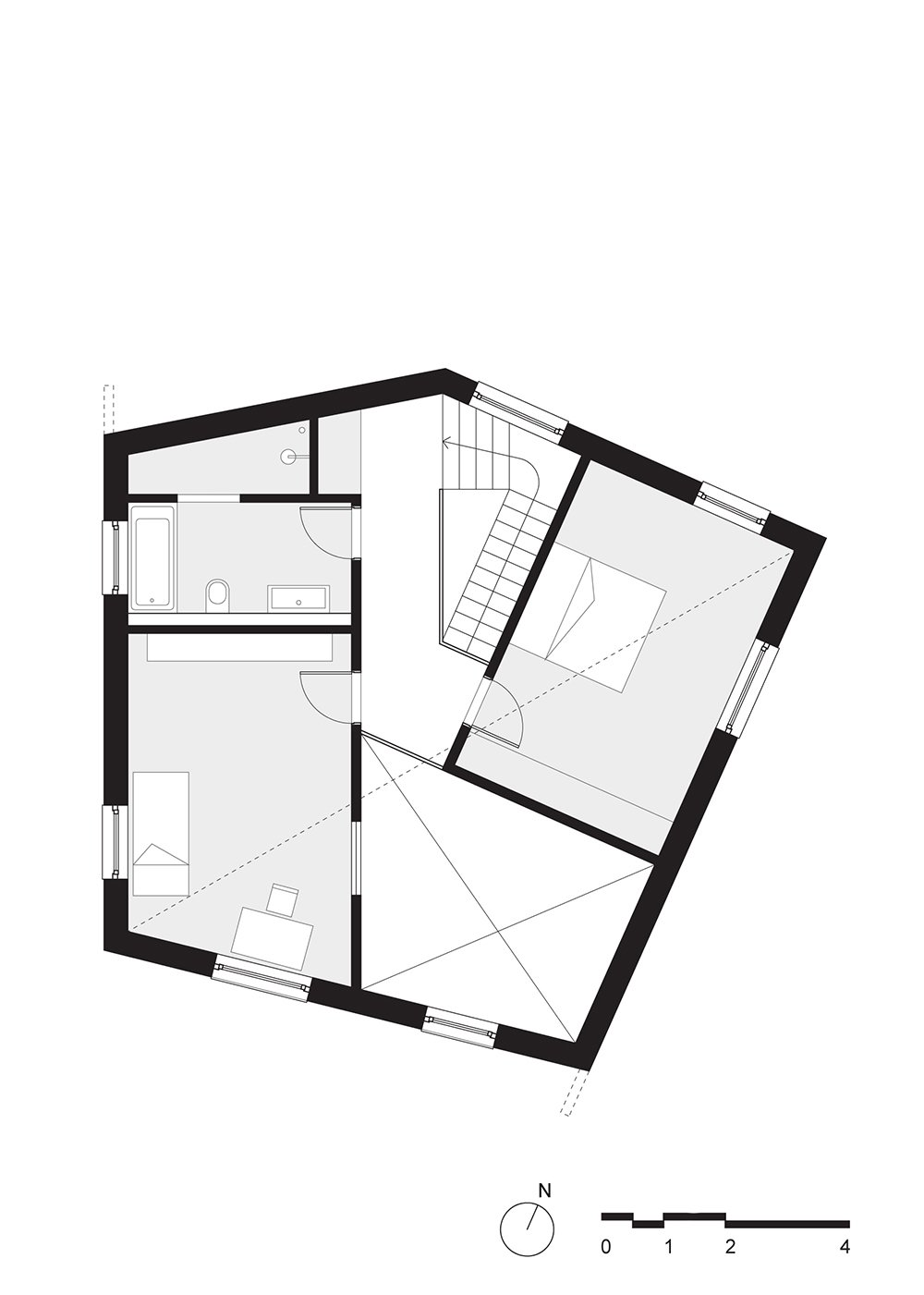 upper floor plan  Haus P by Project Architecture Company