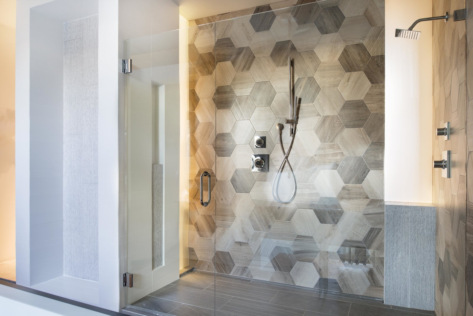 Master shower with hexagonal faux wood tiles Tagged: Bath Room, Full Shower, and Ceramic Tile Floor.  Alaska House