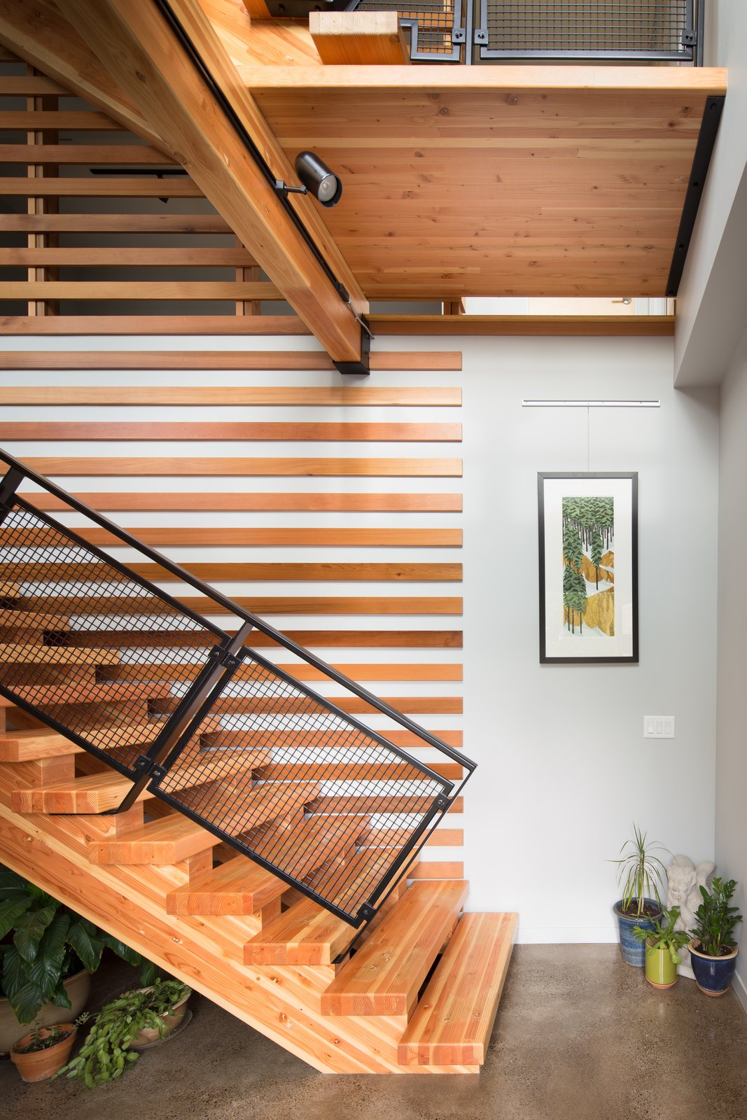 Staircase, Wood Tread, and Metal Railing Entry Stair  Panavista Hill House by Steelhead Architecture