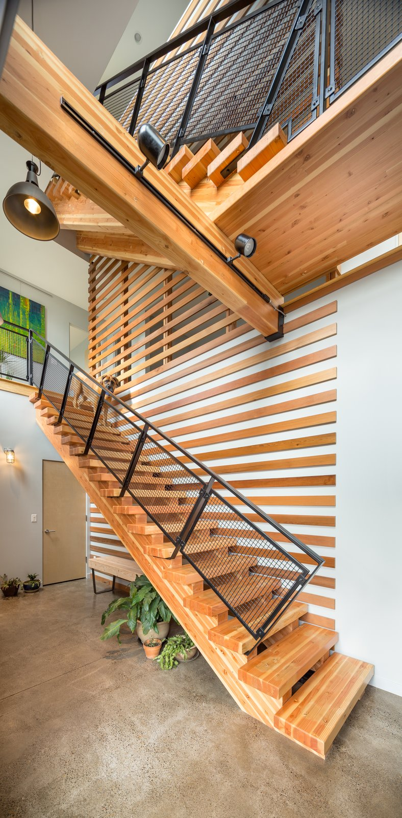 Staircase, Wood Tread, and Metal Railing Vertical stair shaft  Panavista Hill House by Steelhead Architecture