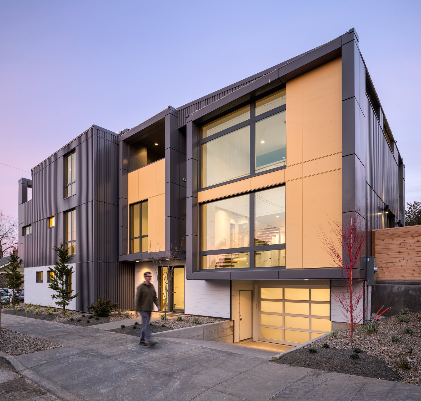Exterior, Metal Siding Material, Shed RoofLine, House Building Type, Flat RoofLine, and Metal Roof Material The south unit exterior  Lightbox 23 by Steelhead Architecture