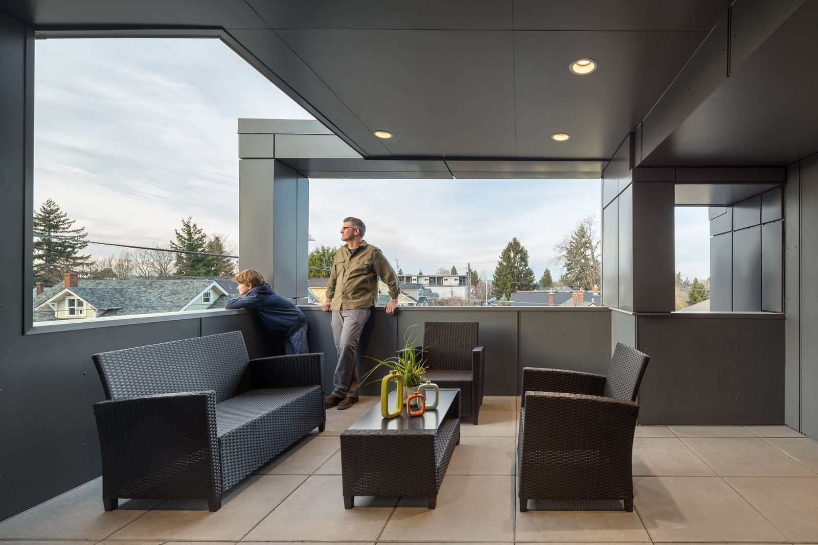 Outdoor, Rooftop, Concrete Patio, Porch, Deck, Small Patio, Porch, Deck, and Tile Patio, Porch, Deck The corner view deck with outdoor living   Lightbox 23 by Steelhead Architecture