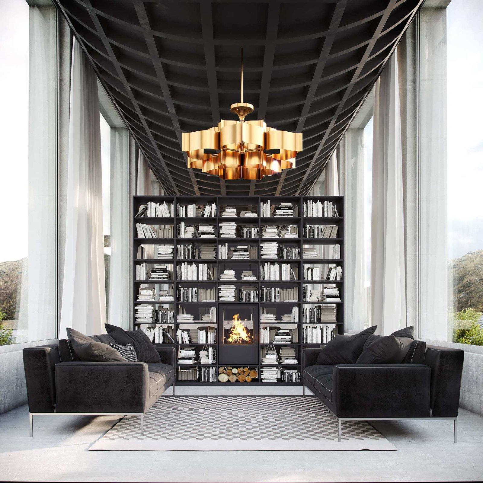 Living Room, Pendant Lighting, Accent Lighting, Sofa, Concrete Floor, Wood Burning Fireplace, and Standard Layout Fireplace Living Room  Infinity House by Vladimir Konovalov