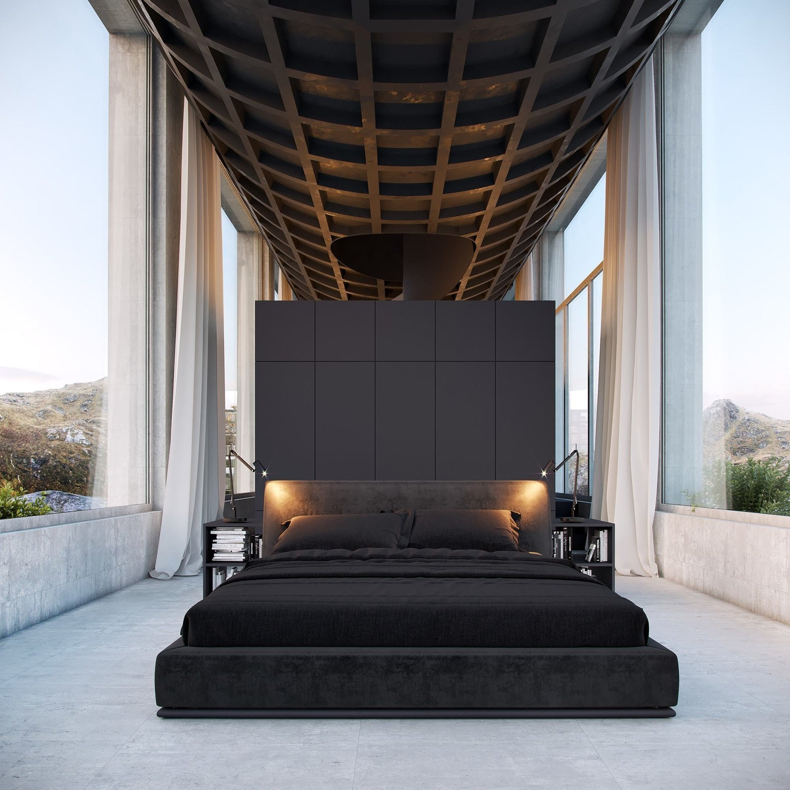 Bedroom, Bed, Night Stands, Concrete Floor, and Table Lighting Bedroom  Best Photos from Infinity House