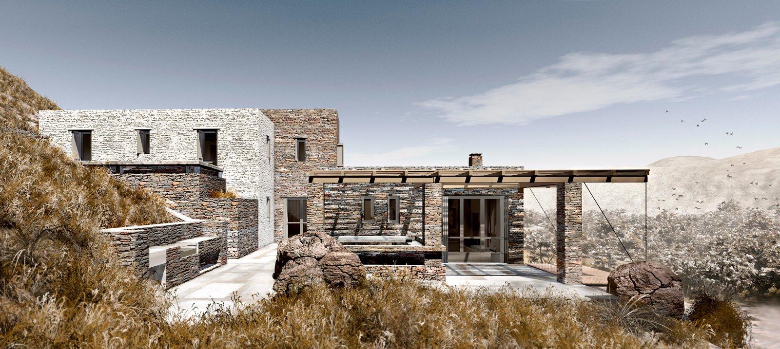 Outdoor, Hardscapes, Grass, Boulders, and Concrete Patio, Porch, Deck 3D Render  ROCKSPLIT house by COMETA ARCHITECTS