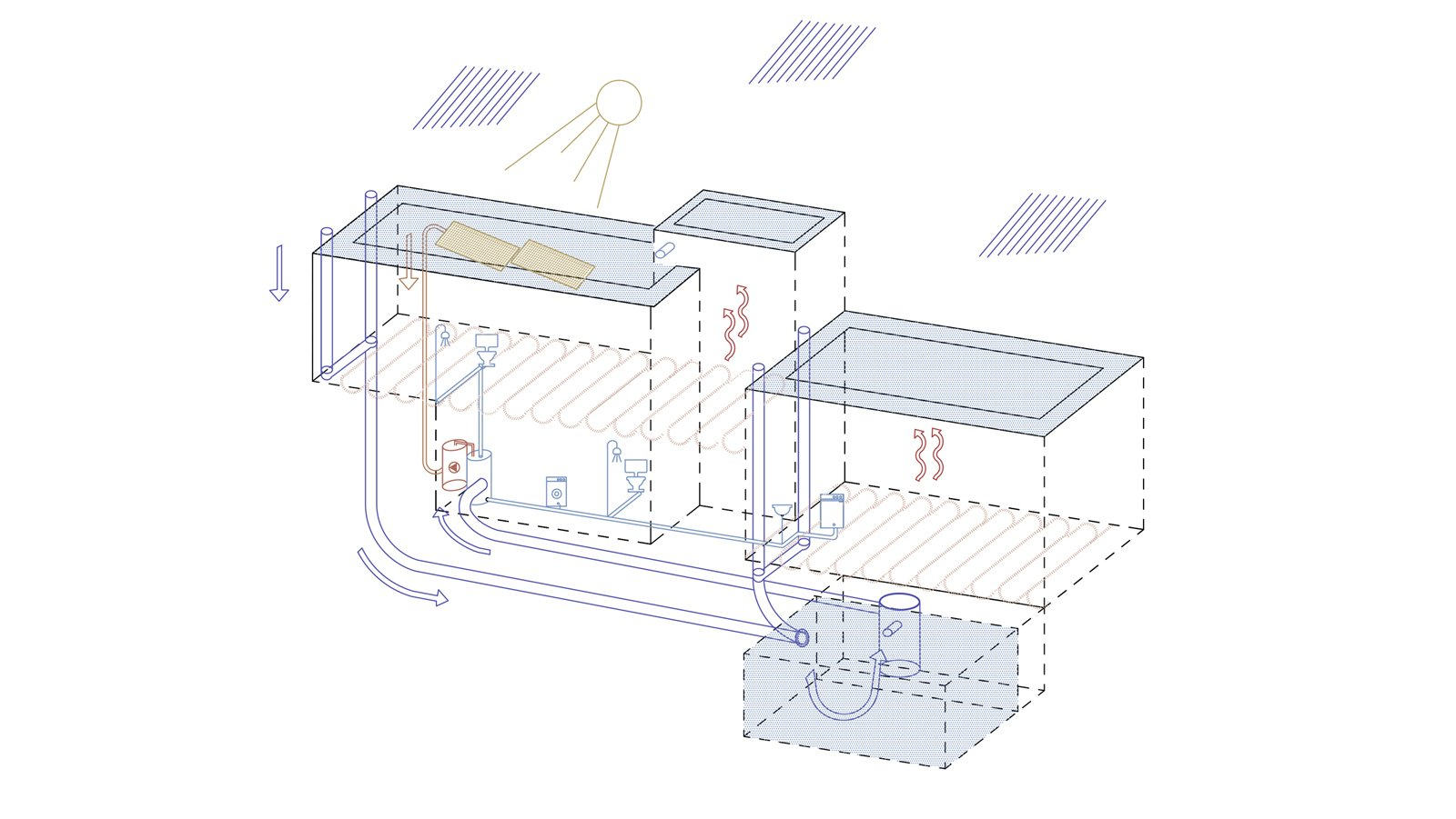 saving energy diagram  ROCKSPLIT house by COMETA ARCHITECTS