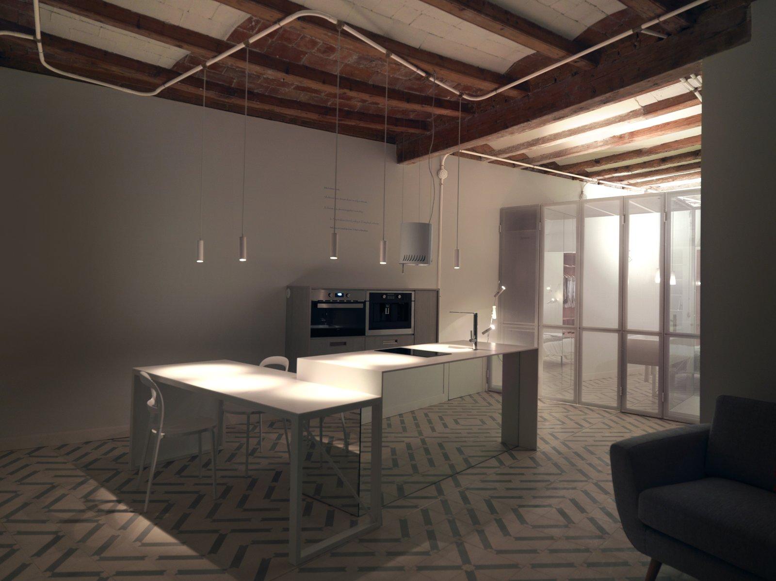 Kitchen, Ceiling Lighting, Pendant Lighting, and Undermount Sink At night  LIGHTSLICE apartment