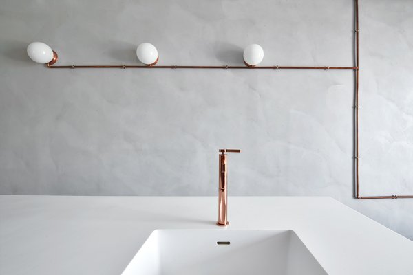 Custom made copper Fossets and custom made wall fixtures