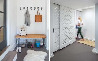 Custom designed bench for easy organization + sliding partition