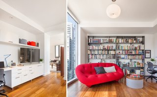 The entertainment space adds a pop of color with the Roche Bobois sofa