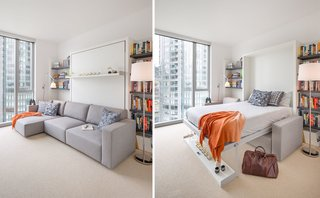 The Murphy Bed allows space for guests and is easily tucked away for minimal footprint