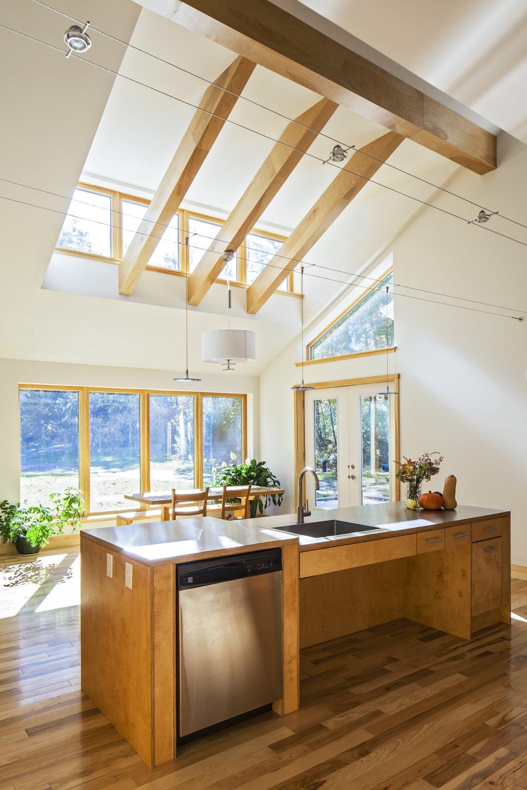 Kitchen, Metal, Wood, Medium Hardwood, Dishwasher, Pendant, Track, and Drop In Accessible Kitchen  Best Kitchen Metal Medium Hardwood Photos from Sliwinski Residence