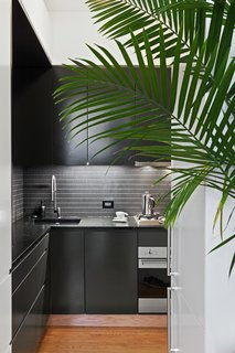 "After moving the wall between the kitchen and living areas, Kate and Arthur were able to configure an L-shaped--which was critical in adding a full height refrigerator, full height pantry, and an 18"" dishwasher. They opted for a minimalist black and white aesthetic, with dark black-green cabinets, and a dark soapstone counter."