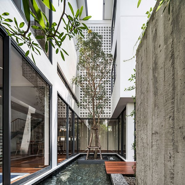 the architectural language of the building is articulated within the relationship among the small open courtyards