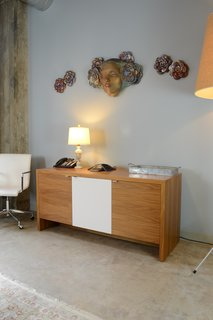 Custom Credenza by Bespoke by blankblank & Wall Relief by Camille Vandenberge, Modern Law Firm by Jill Dudensing Lifestyle + Design