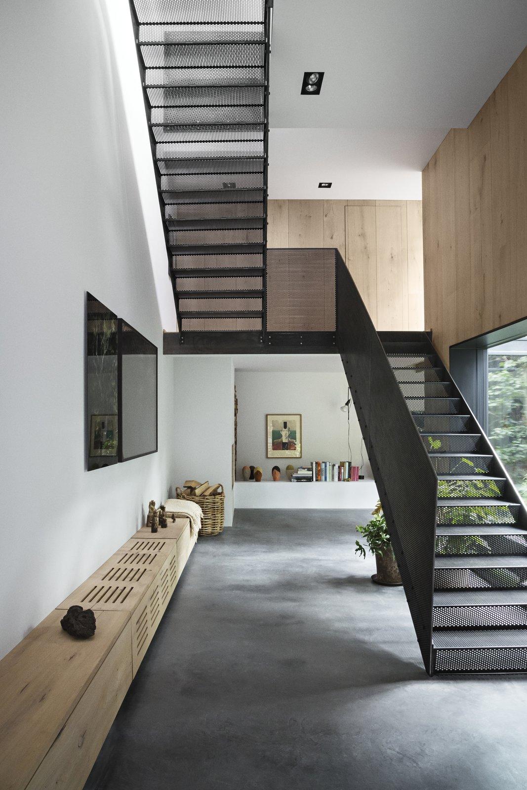 warehouse homes interior metal staircase