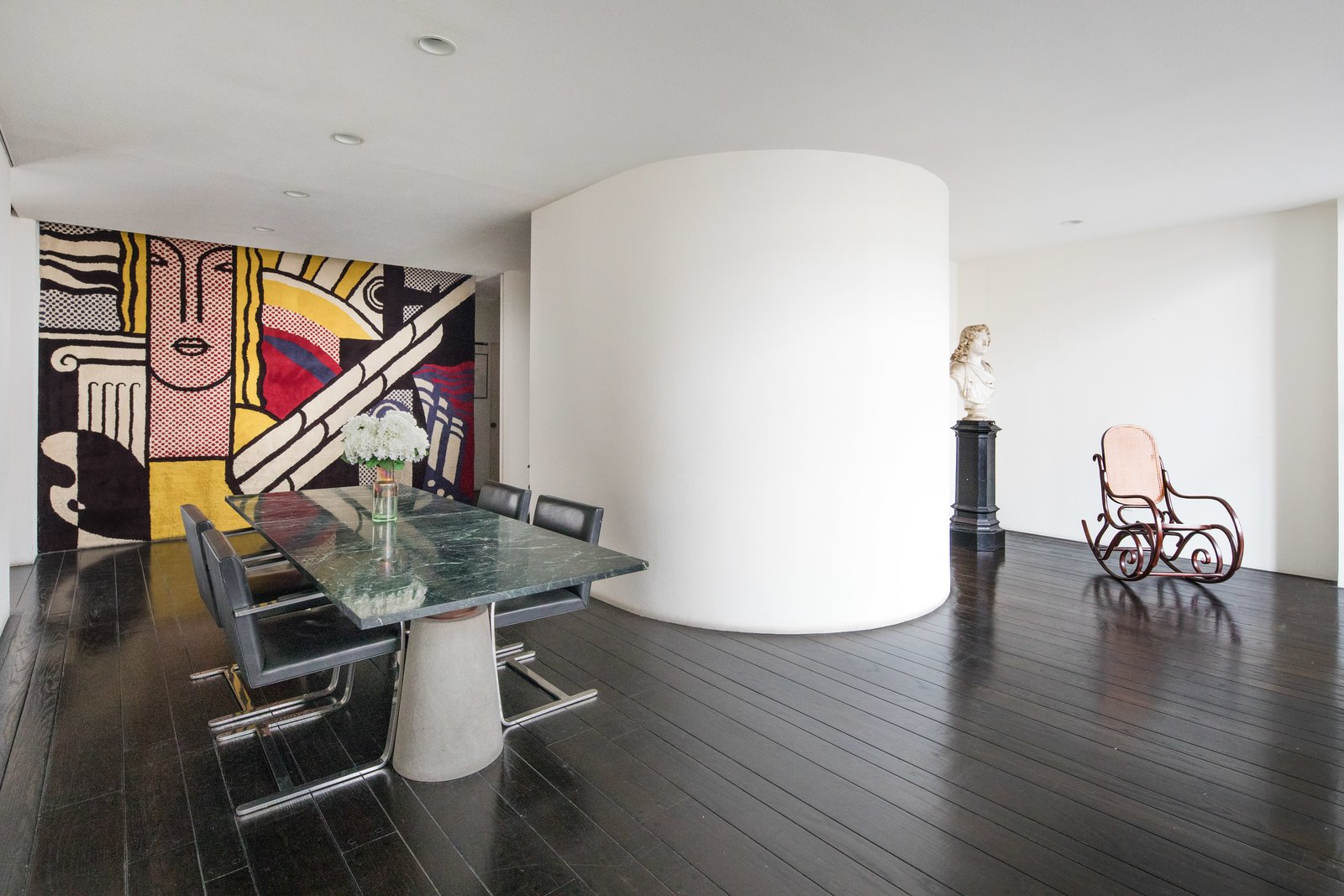Dining, Chair, Dark Hardwood, Table, and Recessed A close-up of the dining room with large scale art.  Best Dining Recessed Dark Hardwood Photos from Legendary Designers Massimo and Lella Vignelli's New York Duplex Is Listed at $6.5M
