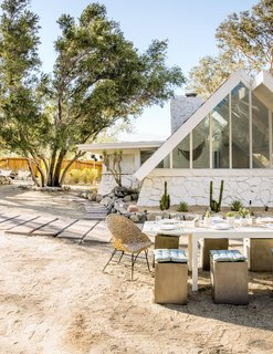 "The former home of interior designer and renowned blogger Sarah Sherman Samuel, this 1961 A-frame in Palm Springs received a thorough renovation and a new lease on life. According to her blog, when Samuel first toured the house she encountered ""cloud murals, a scary dungeon-esque bathroom, and stanky old carpet."" Much of the 784-square-foot space felt cramped and dated. However, she knew the home had good bones, so she decided to start renovating."