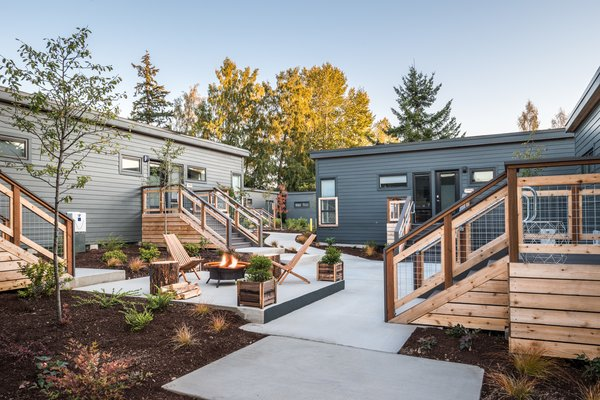 Designed to attract young, tech-savvy city dwellers, the Lodges on Vashon uses virtual registration and check-in and is fitted with handcrafted objects by local island-based artisans.