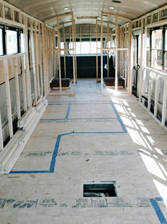 Before: school bus conversion framing