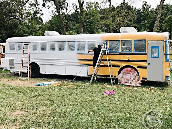 Photo 4 of 13 in A Couple Convert An Old School Bus Into A
